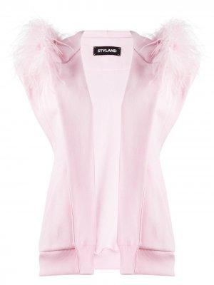Куртка без рукавов с перьями Styland. Цвет: розовый