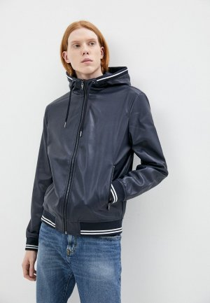 Куртка кожаная Ostin O'stin MJ6Z4C. Цвет: синий