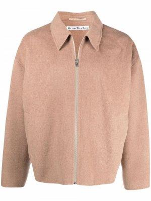 Шерстяная куртка на молнии Acne Studios. Цвет: нейтральные цвета