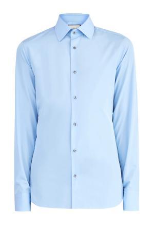 Классическая рубашка из хлопкового поплина GUCCI. Цвет: голубой