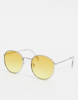 Круглые солнцезащитные очки с желтыми стеклами -Золотой Topman