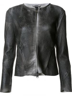 Кожаная куртка с потрескавшимся эффектом Giorgio Brato. Цвет: чёрный