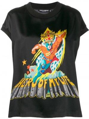 Футболка Hero Of My Life Dolce & Gabbana. Цвет: черный