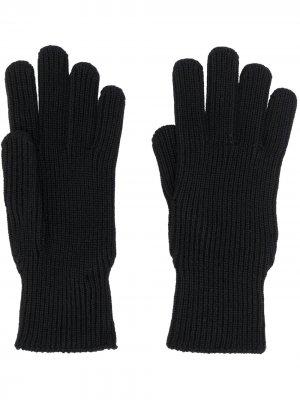 Перчатки с нашивкой-логотипом Moncler. Цвет: черный