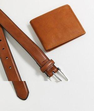 Набор из коричневого кожаного ремня и бумажника -Коричневый Topman