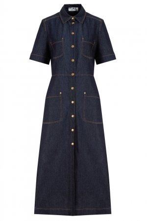 Джинсовое платье-рубашка с карманами LAROOM. Цвет: синий