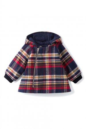 Клетчатое пальто с капюшоном Minois Bonpoint. Цвет: multicolor