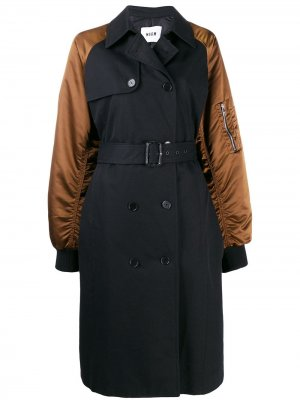 Двубортное пальто-бомбер MSGM