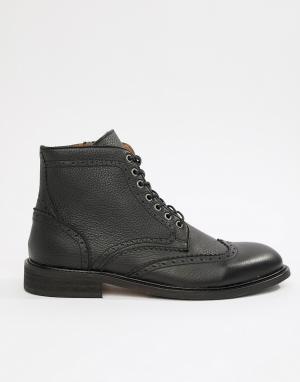 Кожаные ботинки-броги Selected Homme. Цвет: черный