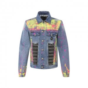 Джинсовая куртка Philipp Plein. Цвет: синий
