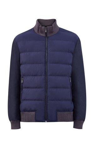 Куртка-colorblock из нейлона и костюмной ткани CUDGI. Цвет: синий