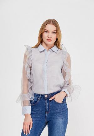 Блуза LOST INK ORGANZA RUFFLE SHIRT. Цвет: голубой