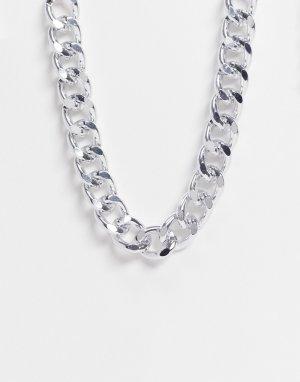 Серебристое ожерелье-цепочка с массивными плоскими звеньями Ego-Серебристый EGO