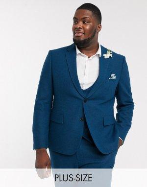 Приталенный пиджак из твида Plus-Голубой Harry Brown