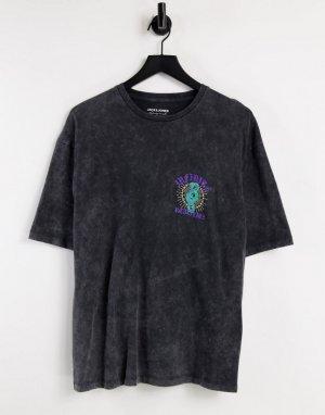 Черная oversized-футболка с принтом бесконечности на спине Originals-Черный цвет Jack & Jones