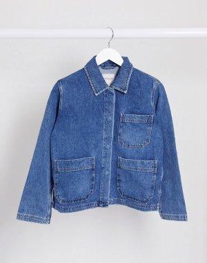 Синяя джинсовая куртка Femme-Синий Selected