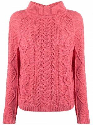 Джемпер фактурной вязки с высоким воротником Semicouture. Цвет: розовый