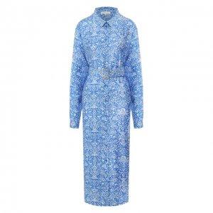 Платье из смеси вискозы и шелка Alexander Terekhov. Цвет: синий