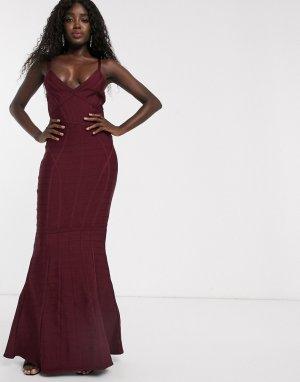 Бандажное платье макси с годе ягодного цвета -Красный Lipsy