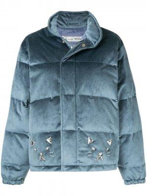 Велюровая куртка-пуховик Cat Tu es mon TRÉSOR. Цвет: синий
