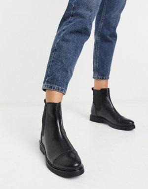 Черные кожаные ботинки челси на плоской подошве -Черный Dune