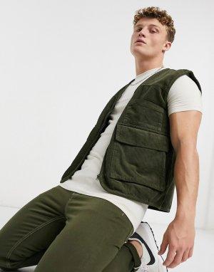 Вельветовый жилет цвета хаки в стиле милитари от комплекта -Зеленый Another Influence