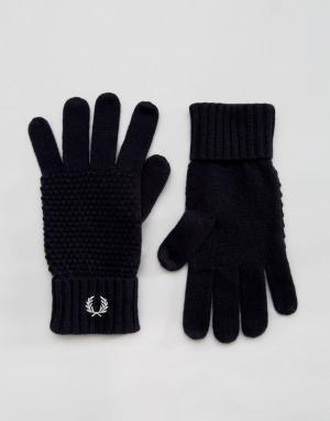 Перчатки из овечьей шерсти Fred Perry. Цвет: темно-синий
