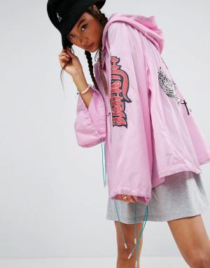 Анорак с вышивкой Premium ASOS. Цвет: розовый
