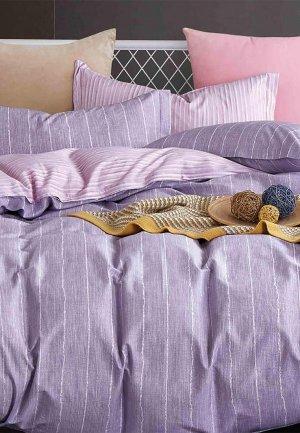 Постельное белье Семейное Cleo Home Satin  Luxe. Цвет: фиолетовый
