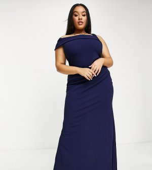 Темно-синее платье макси на одно плечо с юбкой годе -Темно-синий Goddiva Plus