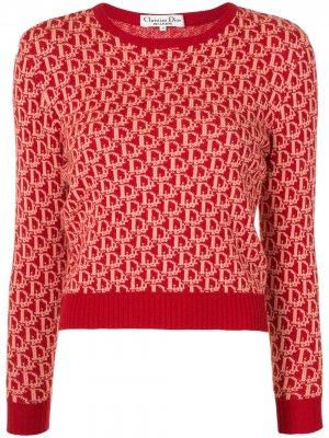 Джемпер pre-owned с узором Trotter круглым вырезом Christian Dior. Цвет: красный