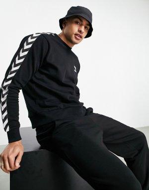 Черный классический свитшот с шевронным узором -Черный цвет Hummel