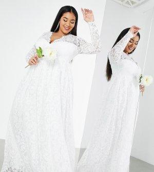 Свадебное кружевное платье цвета слоновой кости с V-образным вырезом Curve Penny-Белый ASOS EDITION