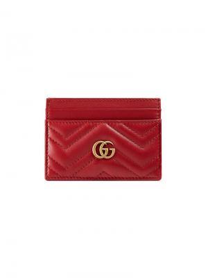 Визитница GG Marmont Gucci. Цвет: красный