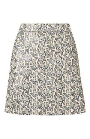 Кожаная юбка DROMe. Цвет: кремовый