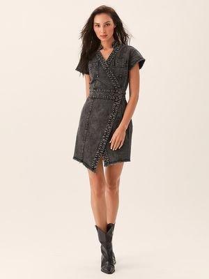 Асимметричное платье из денима серого цвета LOVE REPUBLIC