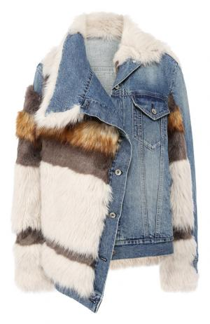 Джинсовая куртка с отделкой из эко-меха Sacai. Цвет: голубой