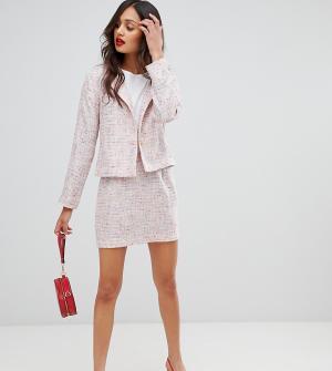Твидовая мини-юбка от комплекта UNIQUE21. Цвет: розовый