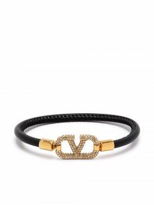 Браслет со стразами и логотипом VLogo Signature Valentino Garavani. Цвет: черный