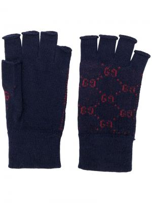 Перчатки без пальцев с узором GG Gucci. Цвет: синий