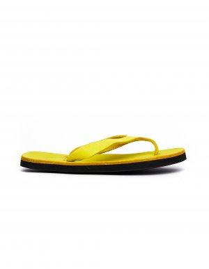 Неоново-желтые кожаные вьетнамки Guidi