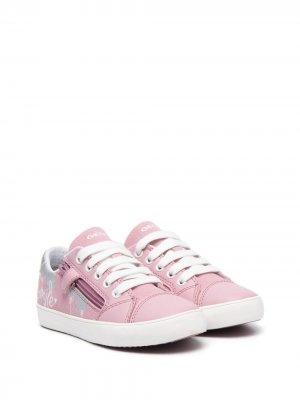 Кроссовки на шнуровке и молнии Geox Kids. Цвет: розовый
