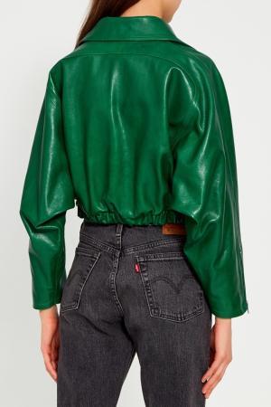 Зеленая кожаная куртка Gucci. Цвет: зеленый