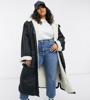 Черная куртка-дождевик макси с подкладкой из искусственного меха Curve-Черный цвет ASOS DESIGN