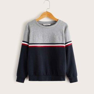 Пуловер с полосатой лентой для мальчиков SHEIN. Цвет: многоцветный