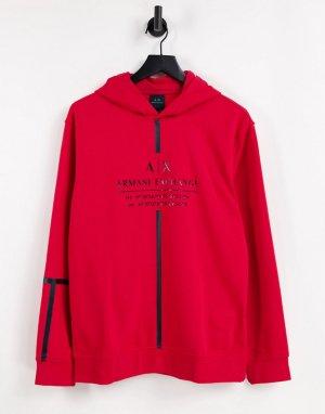 Худи красного цвета без застежки с логотипом и лентой спереди -Красный Armani Exchange