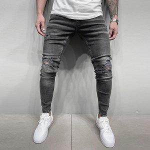 Мужской Рваные джинсы скинни с высокой талией SHEIN. Цвет: темно-серый