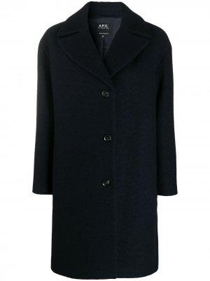 Однобортное пальто с широким воротником A.P.C.. Цвет: синий