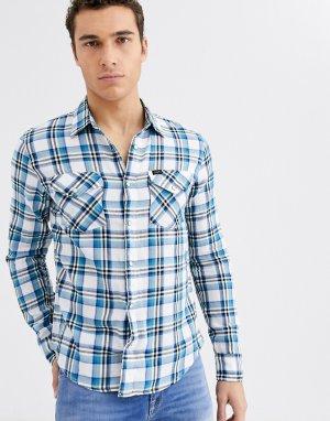 Рубашка в клетку с длинными рукавами Jeans-Голубой Lee