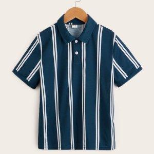 Для мальчиков Рубашка-поло в полоску SHEIN. Цвет: темно-синий
